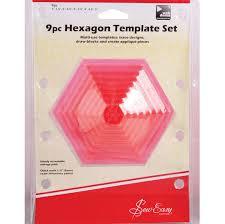 Coloured Hexagon Quilt Template Set 9 Pcs