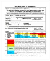 Mental Health Risk Assessment Form | Risk Assessment Form Template ...