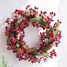 wreath door decoration artificial foam berry wreath with natural pine cone pendant wall decoration free