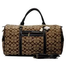 Coach Logo In Signature Large Camel Luggage Bags BJE .