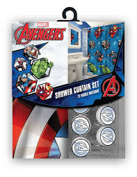 com all new fabric marvel shower curtain set with 12 matching hooks avengers home kitchen