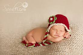 Baby Girl Christmas Hat Baby Red Crochet Hat Newborn Hat