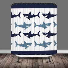 navy blue and white shark shower curtain
