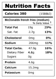 mcdonald s fries nutrition facts frensh frise