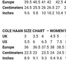 Cole Haan Jacket Size Chart 11 Credible Cole Haan Women Shoe Size Chart