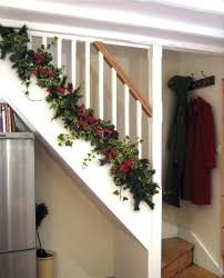 Full Image for Christmas Garland For Banister Decorations Decorating Stairs  Stair Railing And Decorations Banister Banquette ...