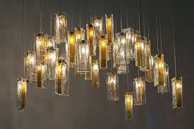 gold drops glass art chandelier
