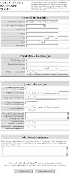 agent special event insurance quote form