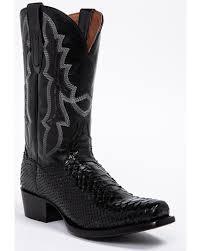 zoomed image dan post men s black python cowboy boots square toe black