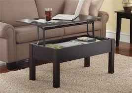 lift top coffee table rectangular espresso brown with storage and work surface