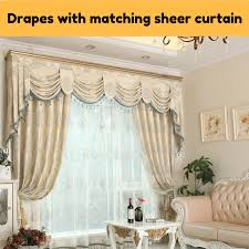 beige ds with sheer curtain swag valance pelmet