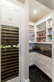 8 bottle wine cooler kitchen traditional with beadboard black countertop open shelves shaker cabinets shelves tiled floor white kitchen