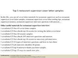 Sample Cover Letter For Restaurant Supervisor Position