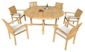 7 piece outdoor patio teak dining set 72 round table 6 nain