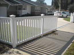white picket fence. Vinyl Craft White Closed Picket Fencing With Square New England Post  Caps White Picket Fence H