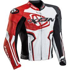 ixon falcon leather jacket white black red thumb 0