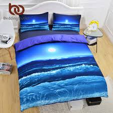 bedding moon and ocean bedding set cool 3d printed duvet cover set soft home textiles soft