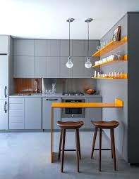yellow and gray kitchen decor kitchens with counter wooden also glass  cabinet minimalist decorations