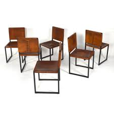 sold austin texas usa unique set of 6 cognac saddle leather dining chairs 1950 s s1716