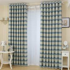 Blue Horizontal Striped Print Polyester Insulated Modern Window Curtains