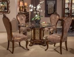 platine de royale 5pc round 54 glass top dining table set in light espresso