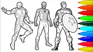 View and print full size. Spiderman Iron Man Captain America Coloring Pages Coloring With Colored Markers Abcd Surprise Tv Youtube