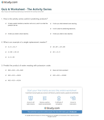 print the activity series predicting s of single displacement reactions worksheet