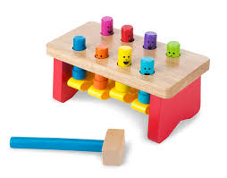 melissa doug deluxe pounding bench wooden toy with mallet com