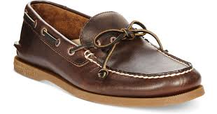 sperry top sider men s a o 1 eye leather boat shoes in brown for men lyst