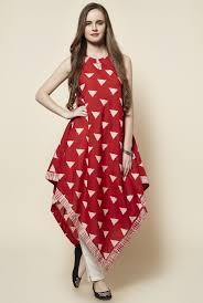 Sleeveless Long Kurti Designs Red Cotton Sleeveless Triangle Kite Kurta Kurta Red