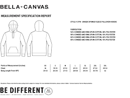 Bella Canvas Size Chart Unisex Bella Canvas Unisex Hooded Pullover Sweatshirt 3719 Size