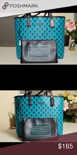 Coach Reversible City Tote 100% Authentic Coach large Bandlands Floral  Reversible Tote in Turquoise and black. Brand New with tags! Coach Bags  Totes