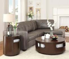dark brown modern solid wood round coffee table sets with storage