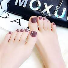 Toe Nail Art Tip Glue Artificial False Toenails Perfect Length Pure Color Full Cover Beauty Art Decoration Manicure For Women Teens Girls
