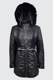 sylvia las alice black classic sylvia midlength fur collar real leather jacket coat