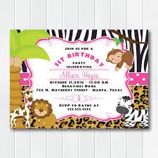 Safari Party Invitations Girl Jungle Safari Birthday Invitations Pink Safari Baby Shower