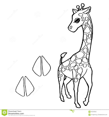 Paw Print With Giraffe Coloring Pages Vector Stock Vector