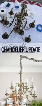 this diy chandelier tutorial shows you how to paint and antique a thrift brass light