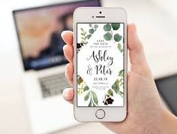 Rustic Electronic Electronic Save The Date Greenery