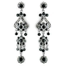 fancy that vintage style chandelier earrings black on antique silver