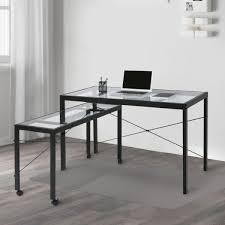 Home office computer workstation Computer Lab Kinbor Home Office Computer Table Desk Workstation With Glass Top And Metal Legs W Crovcom Shop For Kinbor Home Office Computer Table Desk Workstation With