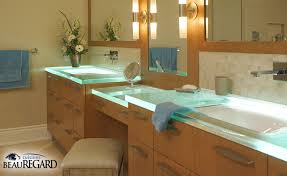 bathroom vanity glass countertop design ideas cool soft light and relaxing luminescence bathroom design with