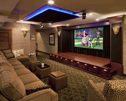 contemporary media room decorating arrangement idea. Home Theater With Stage Contemporary Media Room Decorating Arrangement Idea P