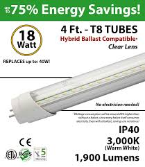 4 ft led tube hybrid ballast compatible 5000k replace fluorescent Led T8 Hybrid Series Wiring Diagram With Out A Ballast 4ft 18w led tube light 1800lm t8 3000k clear lens ballast compatible