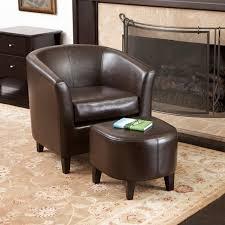 petaluma brown leather club chair and ottoman modern living room