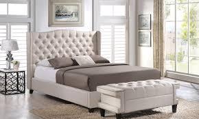 Tufted Wingback Platform Bed