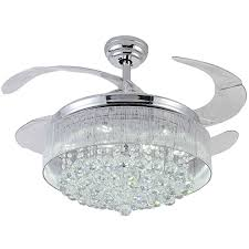 ceiling fan retractable blades. 100% crystal ceiling fan decorative silver body retractable blades light living room led crystal dining room-in fans from lights