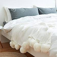 White Pom Pom Throw Blanket