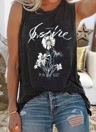 Floral <b>Round Neck Sleeveless</b> Casual T-shirts - Floryday