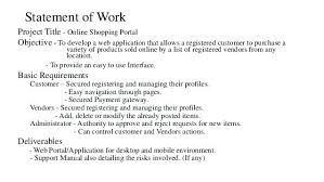 Sample Statement Of Work Template Sow Document Example Vs